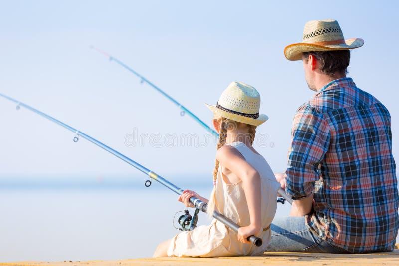 De visserij van de vader en van de dochter royalty-vrije stock foto's