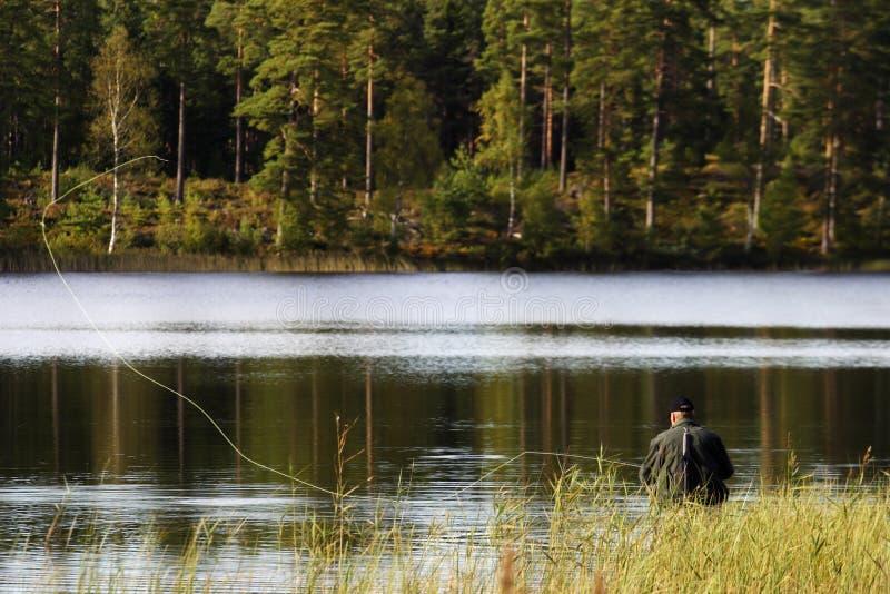 De visserij van de vlieg stock afbeelding