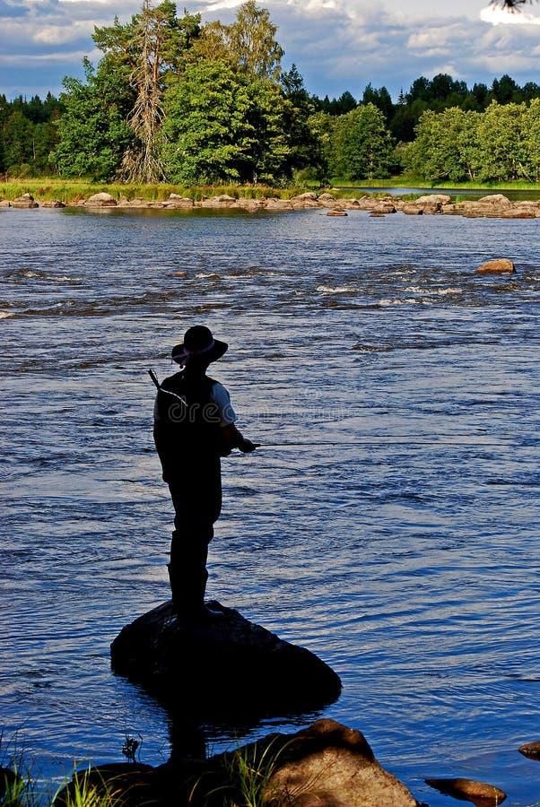 De visserij van de vlieg. stock fotografie