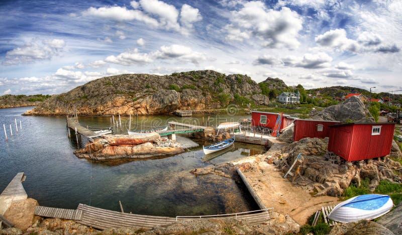 De visserij van dorp in Zweden. stock foto's