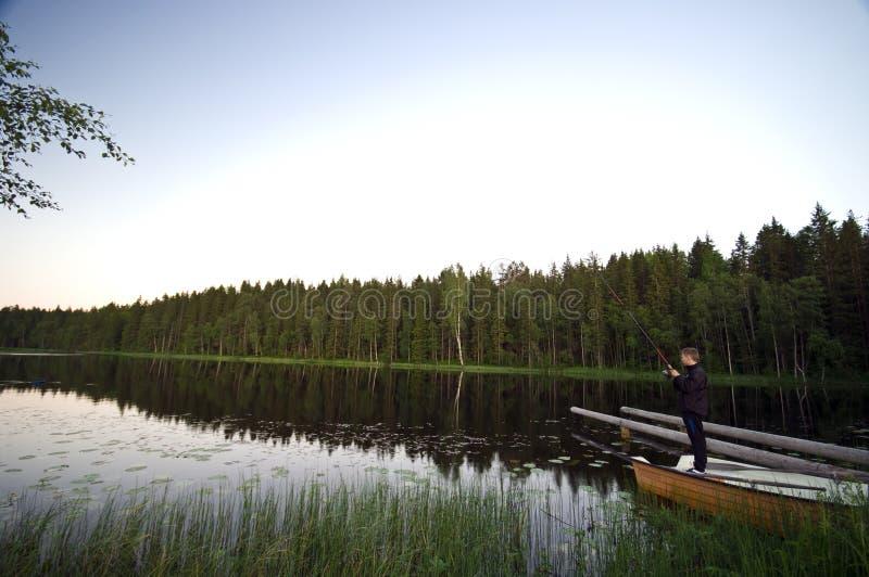 De visserij van het meer stock afbeelding