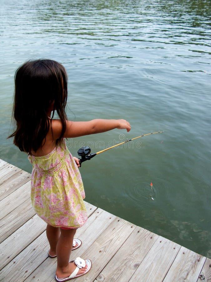 De visserij van het meisje royalty-vrije stock afbeeldingen