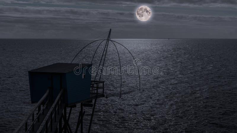 De visserij van hut bij nacht stock foto's