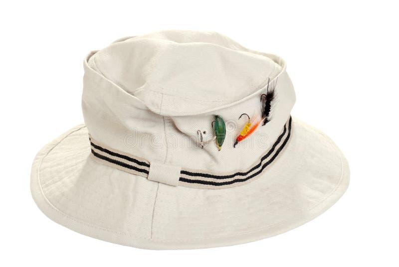 De visserij van kaki hoed met droge vliegen royalty-vrije stock afbeelding