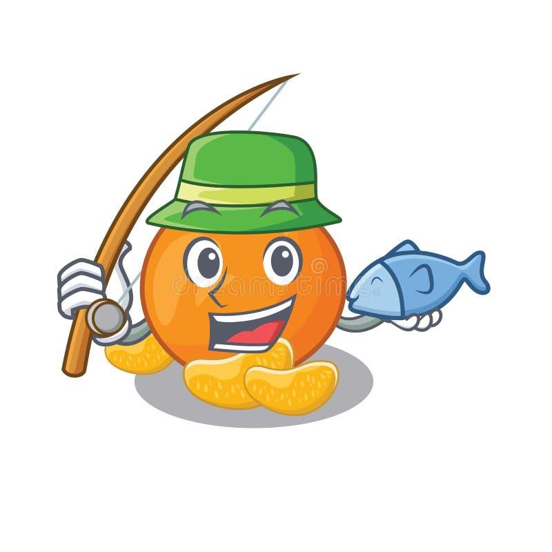 De visserij van mandarijn met in de mascottevorm royalty-vrije illustratie