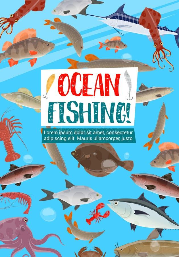 De visserij van sportaffiche met oceaanvissen royalty-vrije illustratie
