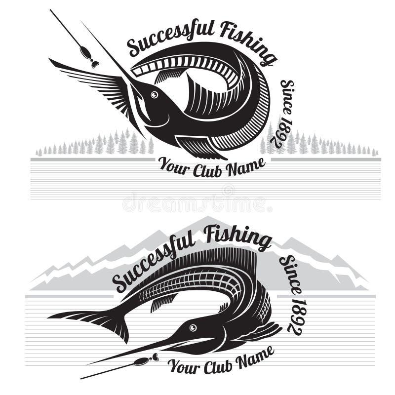 De visserij van stijletiketten met vissen en landschappenbos en bergen stock illustratie