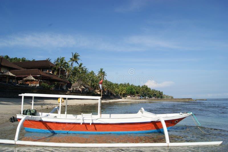 De visserij van Trimaran in Bali, Indonesië stock foto