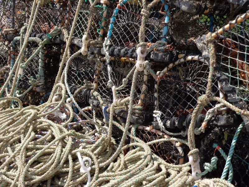 De visserij van vismanden bij Craster-Haven Northumberland stock fotografie