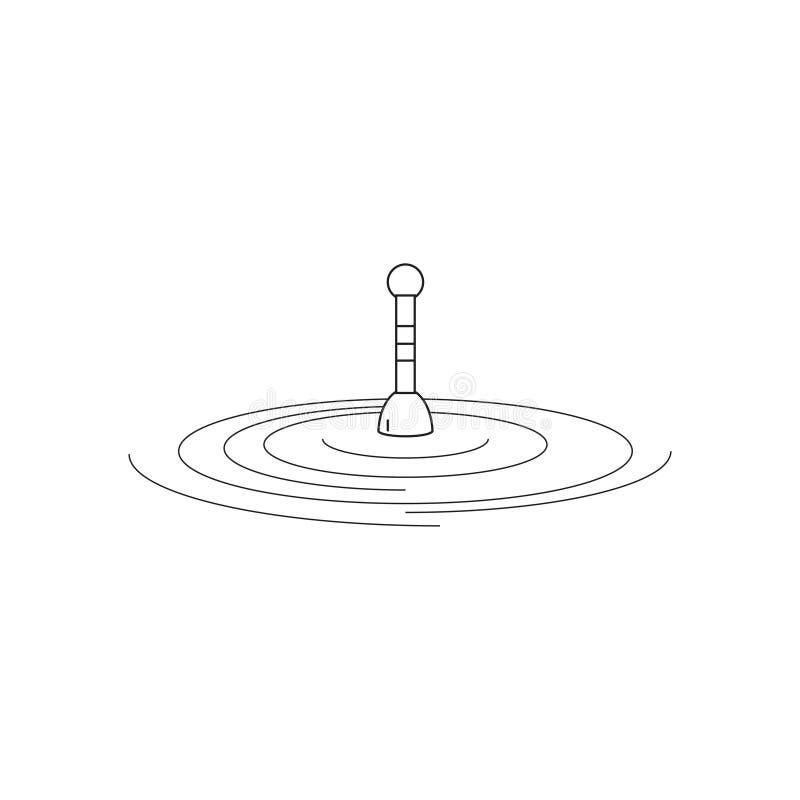 De visserij van vlotter op water De visserij van vlotter in de stijl van de lijn Het embleem of het embleem van uw opslag of bedr royalty-vrije illustratie