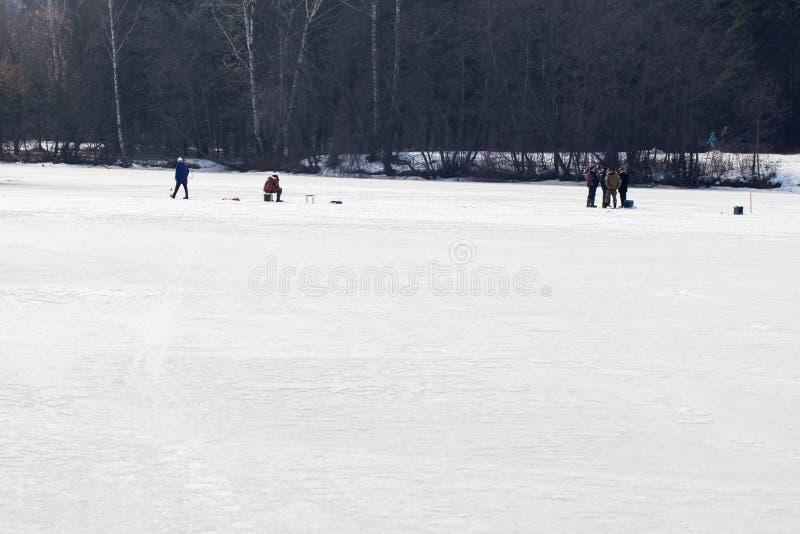 De visserij van de winter Rivier, meer dichtbij bos in ijs Vissers, Fishermens tijdens uw favoriete vrije tijd Met plaats voor stock afbeeldingen