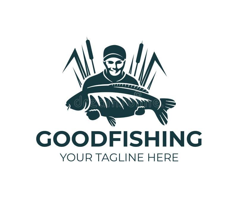 De visserij, visser houdt karpervissen en status in het riet, embleemontwerp Vissende sportclub en visser, aard, dier en onder stock illustratie