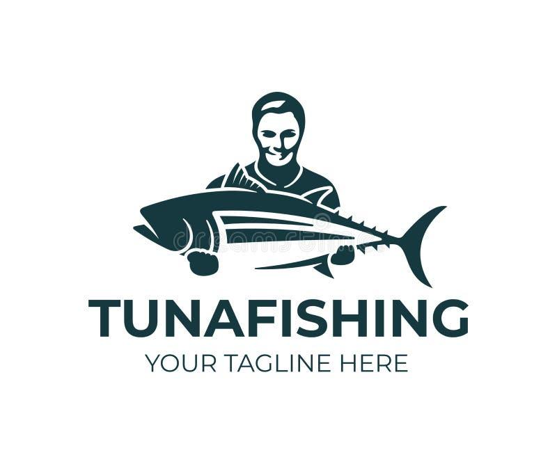 De visserij, visser houdt tonijnvissen, embleemontwerp Vissende sportclub en visser, aard, het dierlijke en onderwaterleven, vect stock illustratie