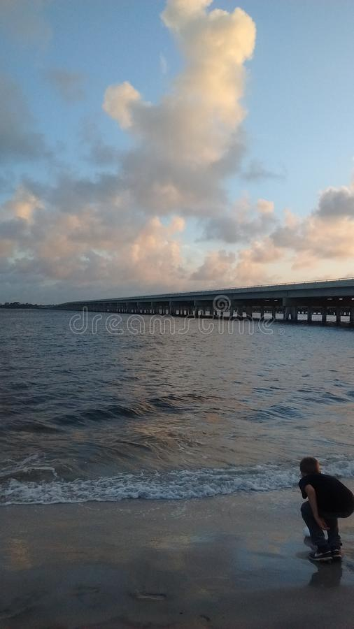 De visserijbrug van Florida dichtbij Amiela-eiland van A1A stock fotografie