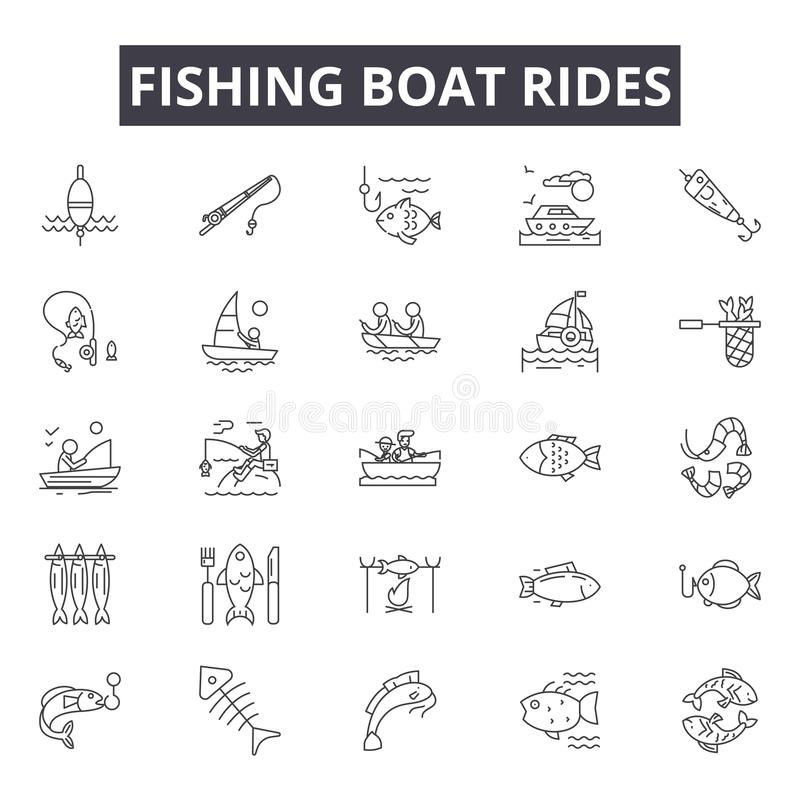 De vissersboot berijdt lijnpictogrammen, tekens, vectorreeks, het concept van de overzichtsillustratie royalty-vrije illustratie