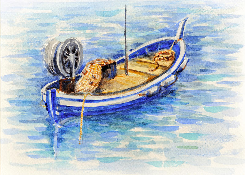 De vissersboot van het waterverfbeeld in Middellandse Zee stock afbeeldingen