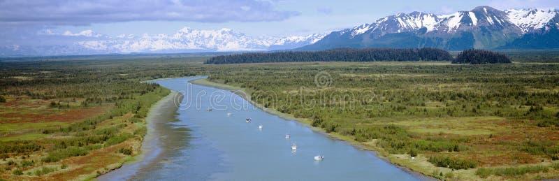 De vissersboten van de zalm bij wrangell-St Elias National Park, Alaska stock fotografie