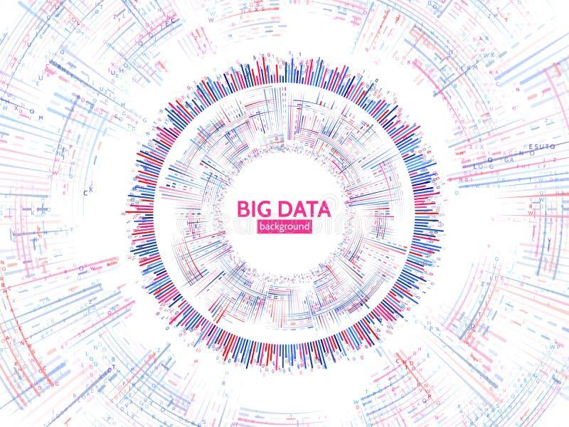 De visuele informatie van de gegevensstroom De abstracte structuur van gegevensconection Futuristische informatieingewikkeldheid stock illustratie