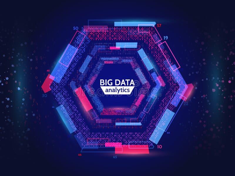 De visuele informatie van de gegevensstroom De abstracte structuur van gegevensconection Futuristische informatieingewikkeldheid vector illustratie