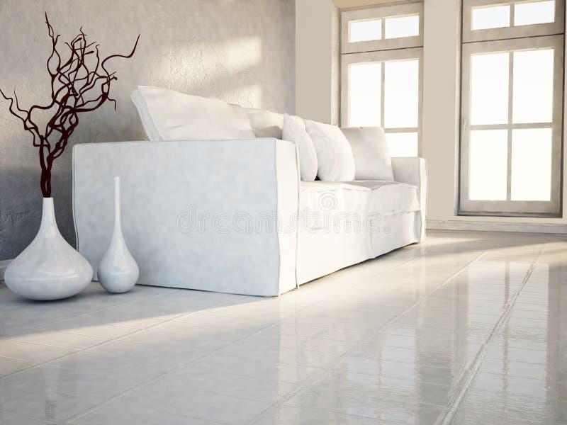 De vita vaserna nära soffan vektor illustrationer