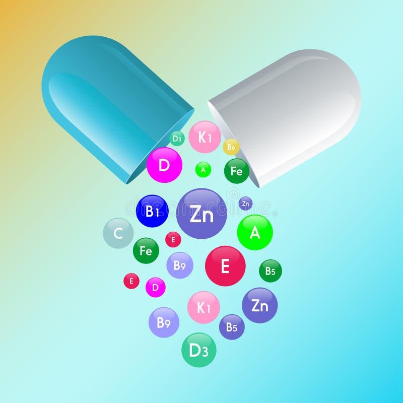 De vitamine complex van pillencapsule en vitaminen borrelt met namen voor dieetsupplement en gezond levensstijl reclameontwerp te stock illustratie