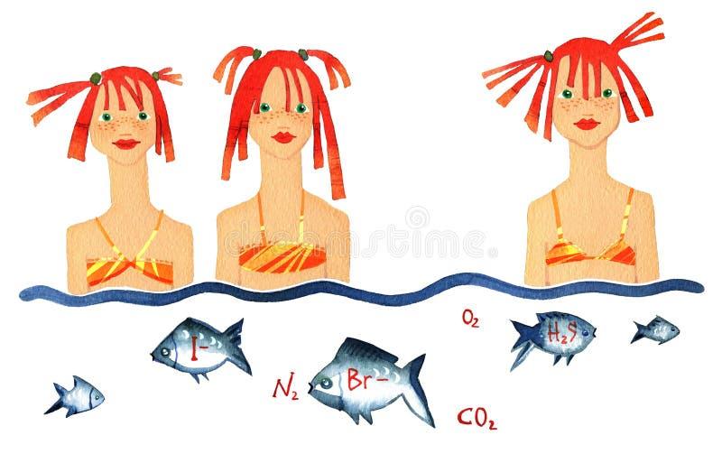 De vitamine en het minerale model, meisje Drie op patroonbikini die whith vissen zwemmen vector illustratie