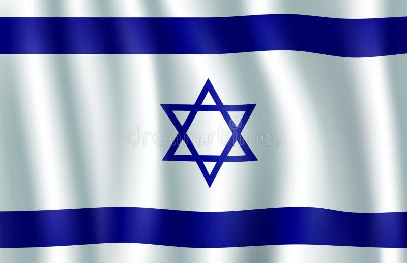 De vlag 3d illustratie van Israël met Jodenster vector illustratie