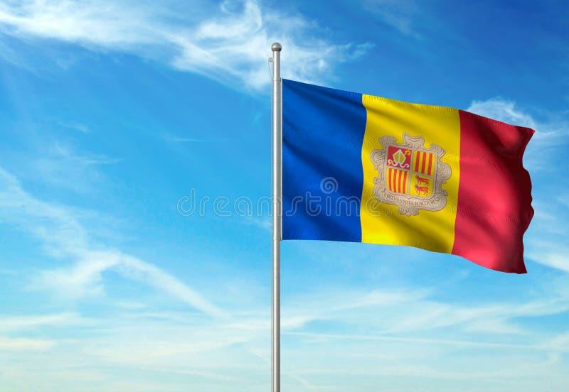 De vlag die van Andorra met hemel op realistische 3d illustratie als achtergrond golven stock illustratie