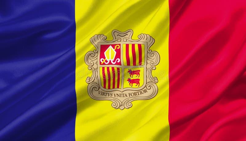 De vlag die van Andorra met de wind, 3D illustratie golven vector illustratie
