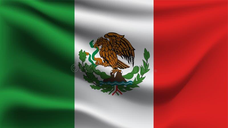 De vlag die van Mexico met de de golfvlag van de wind 3D illustratie golven stock illustratie