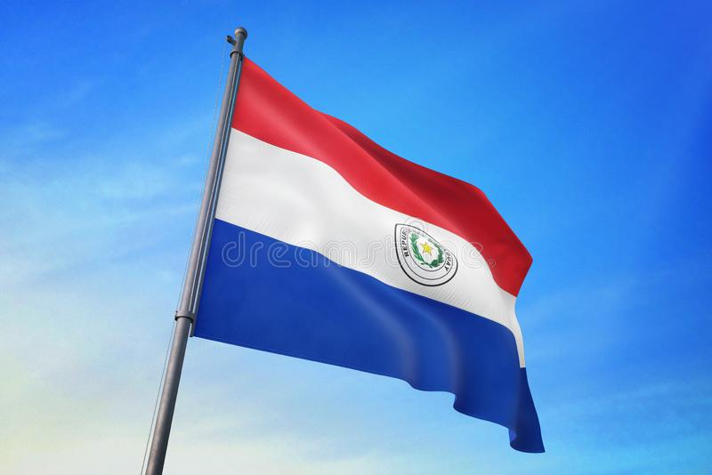 De vlag die van Paraguay op de blauwe hemel 3D illustratie golven royalty-vrije illustratie