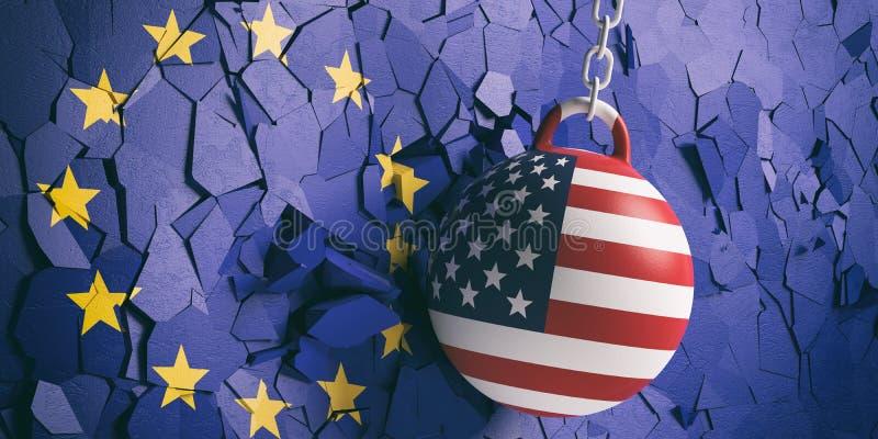 De vlag die van de V.S. bal slopen die een Europese Unie vlagmuur breken 3D Illustratie royalty-vrije illustratie