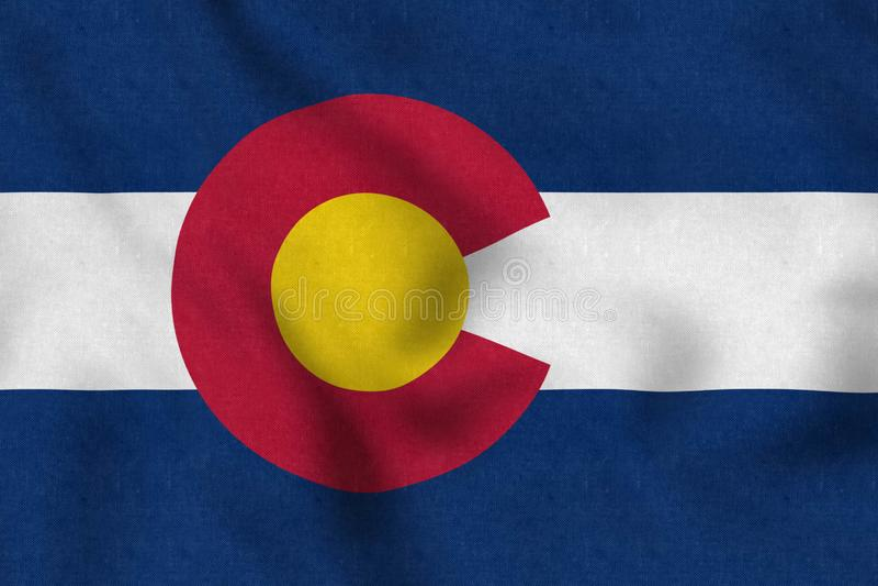 De Vlag die van de V.S. van Colorado zacht in de wind golven stock illustratie