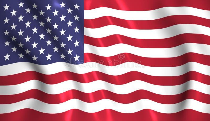 De vlag die van de V.S. in de wind de Amerikaanse V.S. golven stock afbeeldingen
