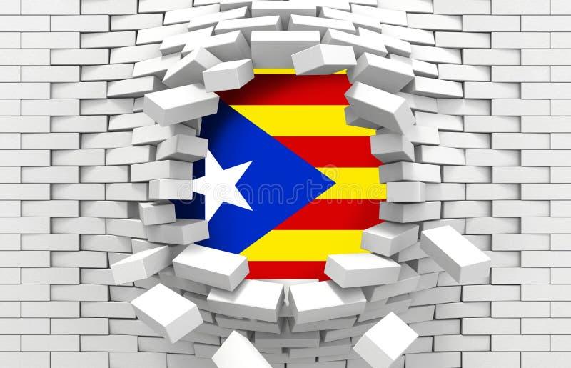 De Vlag en de bakstenen van Catalonië stock illustratie