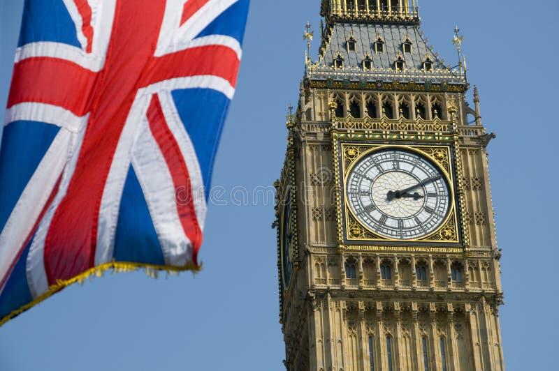 De Vlag en de Big Ben van de Unie royalty-vrije stock fotografie