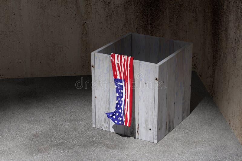 De vlag en de doos van de V.S. royalty-vrije illustratie