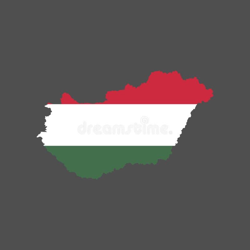 De vlag en de kaart van Hongarije vector illustratie
