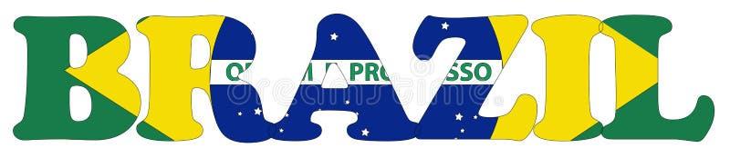 De vlag en de naam van Brazilië vector illustratie