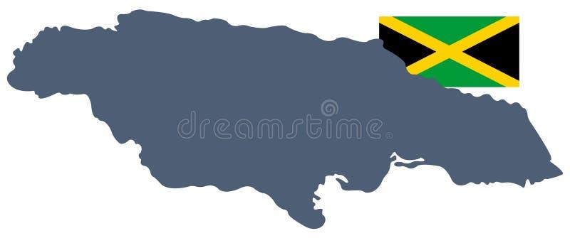 De vlag en de kaart van Jamaïca - eilandland in de Caraïbische Zee wordt gesitueerd die vector illustratie