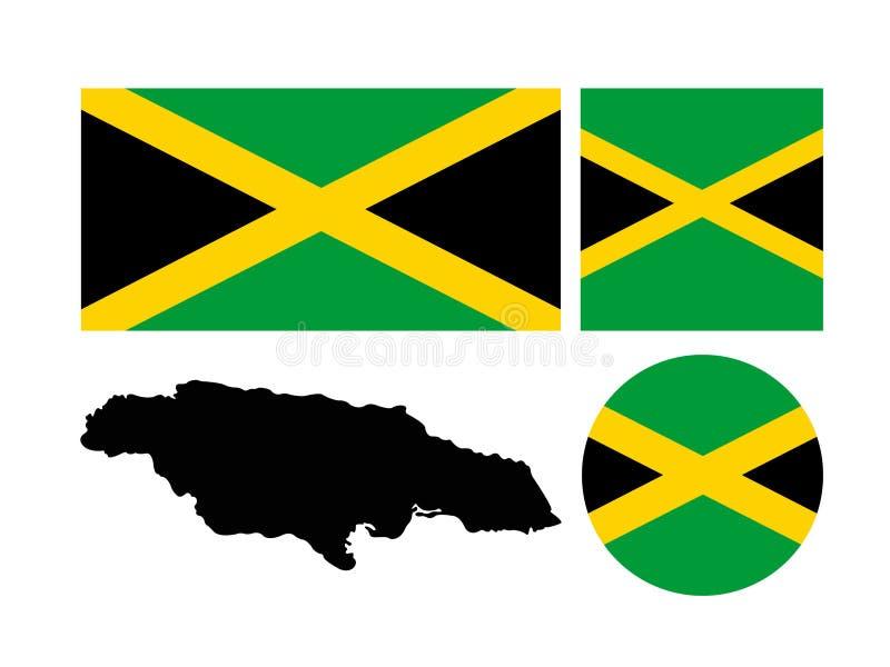 De vlag en de kaart van Jamaïca - eilandland in de Caraïbische Zee wordt gesitueerd die stock illustratie