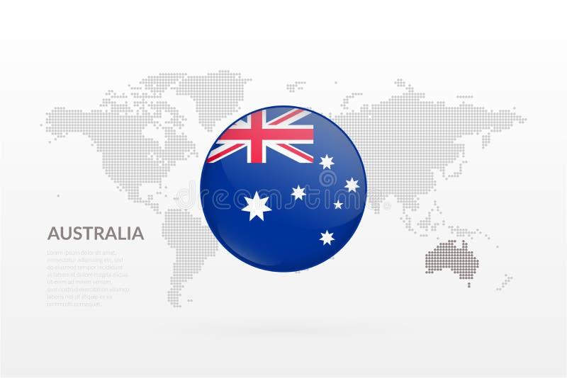 De vlag glanzend pictogram van Australië Het vector infographic symbool van de wereldkaart Australisch teken voor zaken, ontwerp vector illustratie