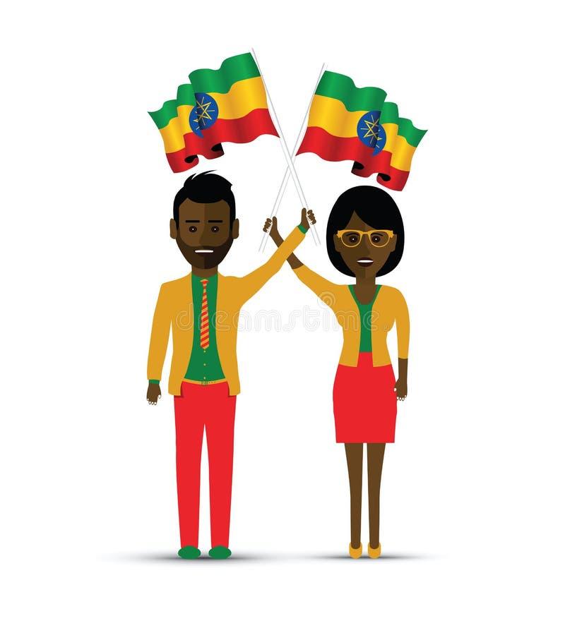 De vlag golvende man en vrouw van Ethiopië vector illustratie