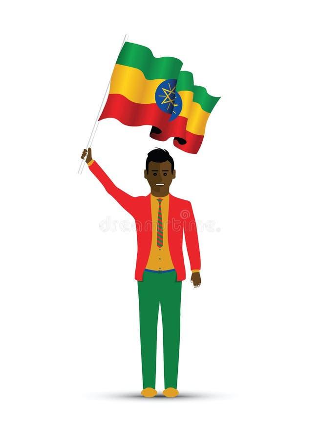 De vlag golvende mens van Ethiopië vector illustratie