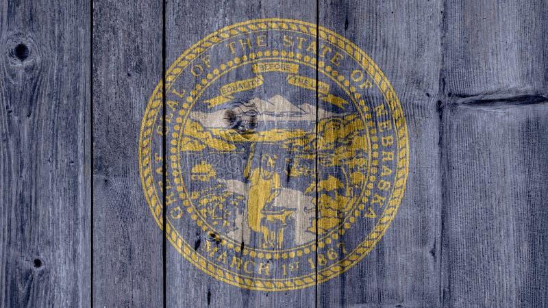 De Vlag Houten Omheining van Nebraska van de Staat van de V.S. royalty-vrije stock afbeeldingen