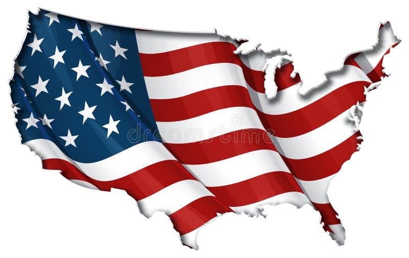 De vlag-Kaart van de V.S. BinnenSchaduw stock illustratie