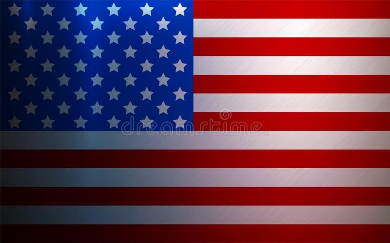 De Vlag Metaal Geweven Nationale Achtergrond van de V.S. royalty-vrije illustratie