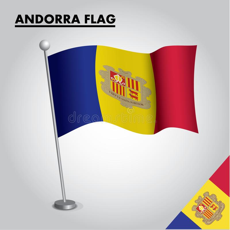 De vlag Nationale vlag van Andorra van Andorra op een pool vector illustratie