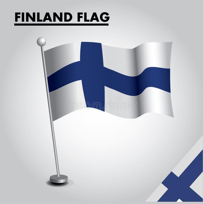 De vlag Nationale vlag van FINLAND van FINLAND op een pool royalty-vrije illustratie