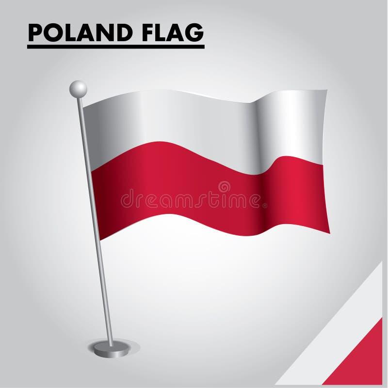 De vlag Nationale vlag van POLEN van POLEN op een pool vector illustratie